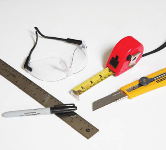 1:  Tools Required:  Straight edge, utility knife, tape measure and safety goggles
