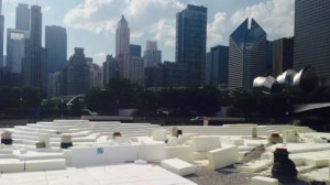 Some of the geofoam blocks from Insulfoam that the Chicago Park District used as a lightweight fill to create the hilly landscape at ht district's new 20-acre Maggie Daley Park.