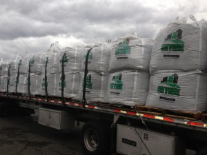 Large sacks of CityMix brand lightweight concrete additive