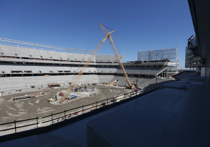 Super Bowl 50:  A look underneath the concrete ramps in Levi's Stadium