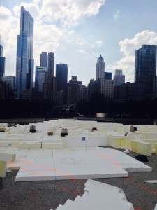 Lightweight expanded polystyrene (EPS) geofoam forms landscape contours over an underground parking garage at Chicago's Maggie Daley Park.